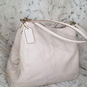 COACH Leather Satchel Hobo Handbag Cream Purse
